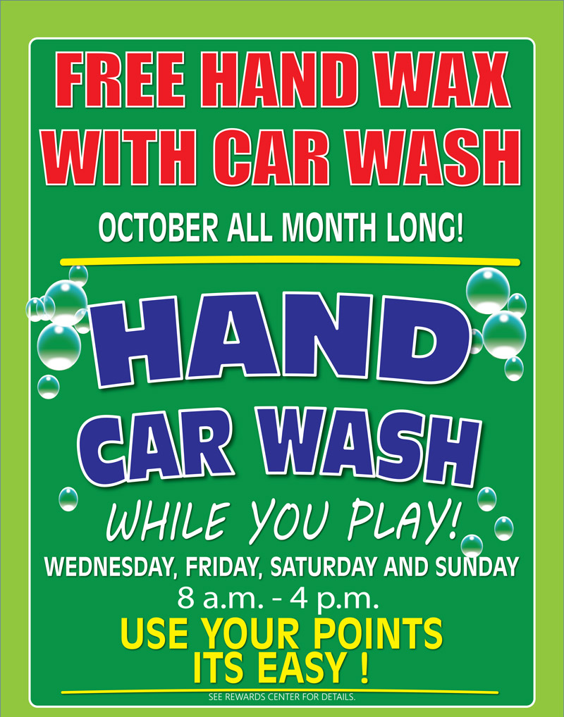 Car Wash October Free Hand Wash