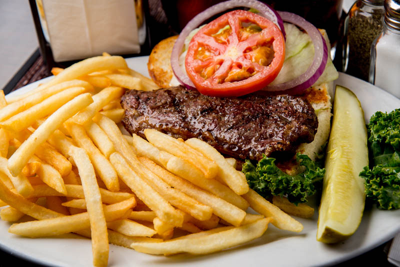 Steak and fries at Emerald Island