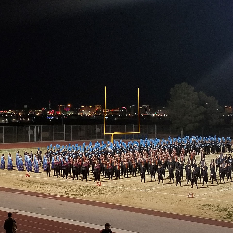 High School band playing at the-MBOS Championship at night