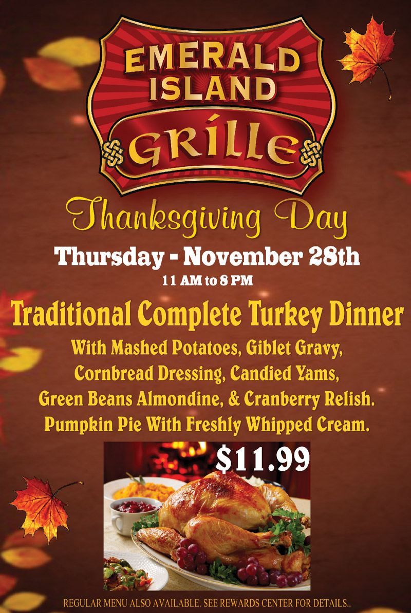 Thanksgiving Day Menu for Emerald Island Grille