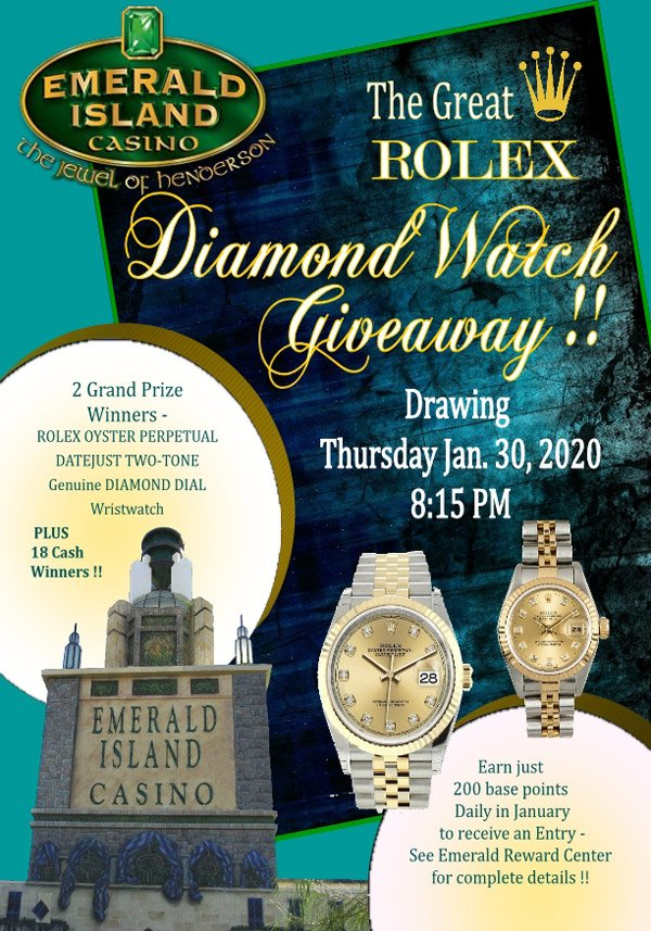 Flyer for Emerald Island Casino's The Great Rolex Diamond Watch Giveaway