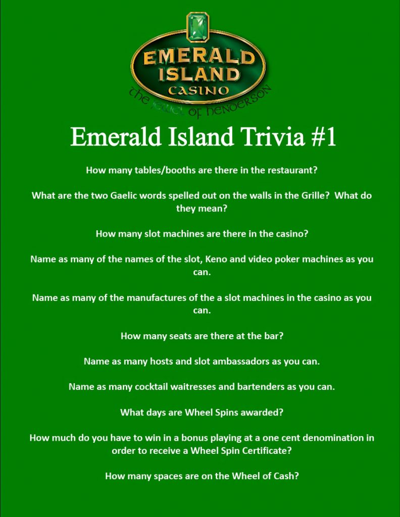 Emerald Island Casino Trivia #1