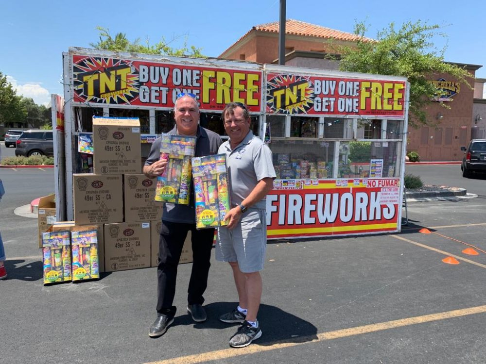 Tim Brooks men with fireworks package